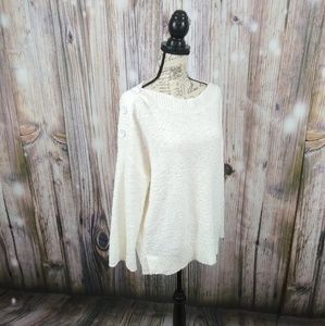 Caslon Knit Button Shoulder Sweater XL
